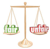 Fair Vs Unfair Words Scale Balance Justice Injustice — Stock Photo