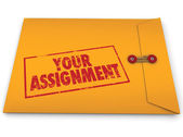 Your Assignment Task Yellow Envelope Secret Instructions — Stock Photo