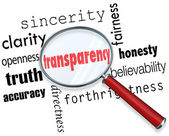Transparency Word Magnifying Glass Sincerity Openness Clarity — Foto Stock