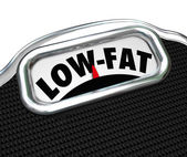 Low-Fat Words Scale Nutritional Food Choice Snacks — Stock Photo