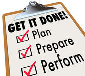 Get It Done Clipboard Checklist Plan Prepare Perform — Stock Photo