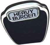 Heavy Burden Scale Words Difficult Task Duty — Stock Photo