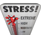 Stress Thermometer Overwhelming Too Much Work Load — Stock Photo