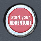 Start Your Adventure Red Button Begin Fun Experience — Stock Photo