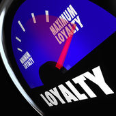 Loyalty Fuel Gauge Measure Customer Retention Level — Stock Photo