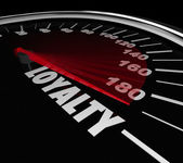 Loyalty Word Speedometer Measuring Return Repeat Customer — Stock Photo