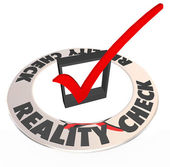 Reality Check Mark Box Realistic Potential Possibility — Stock Photo