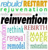 Reinvention Word Background Rebuild Redo Restart — Stock Photo