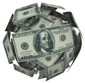 Hunded Dollar Bill Money Ball Cash Currency — Stock Photo