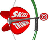 Skill Training Words Bow Arrow Target Learn Expertise — Stock Photo
