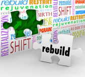 Rebuild Word Puzzle Piece Wall Reinvent New Start — Stock Photo