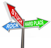 Stuck Between Rock Hard Place 3 Arrow Road Signs — Stock Photo