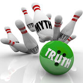 Truth Vs Myth Bowling Facts Investigating Busting Untruth — Stock Photo