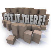Get It There Shipping Cardboard Boxes Fast Shipment — Stock Photo