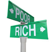 Rich Vs Poor Two Way Street Road Signs Poverty Wealth — Stock Photo