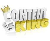 Content is King Quote Saying 3D Letters Crown Online Value — Stock Photo