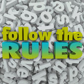 Follow the Rules Letter Background 3D Regulations Guidelines — 图库照片