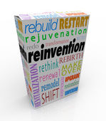 Reinvention Product Package Box Renew Refresh Revitalize — Stock Photo