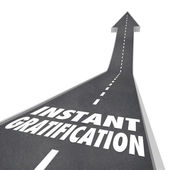 Road Arrow Instant Gratification — Stock Photo