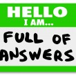 Hello I am Full of Answers — Foto de Stock