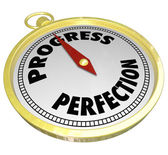 Progress Vs Perfection Gold Compass Point to Improvement — Stock Photo