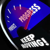 Progress Vs Perfection Measurement Gauge Keep Moving — Stock Photo