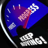 Progress Vs Perfection Measurement Gauge Keep Moving — Stock Photo