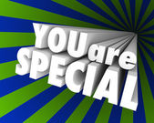 You Are Special 3D Words Unique Different Exceptional — Foto Stock