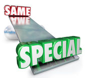 Special Vs Same Words See Saw Balance Unique Different — Stock Photo