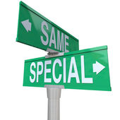 Special Vs Same Two Way Road Street Signs — Stock Photo