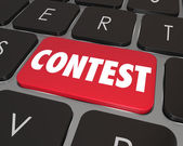 Contest Computer Key Button Enter Jackpot Prize Drawing Online — Stock Photo