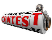 Contest Word Slot Machine Wheels Play Win Jackpot — Stock Photo