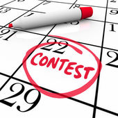 Contest Calendar Date Circled Reminder Entry Deadline Win — Stock Photo