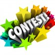 Contest Word Stars Fireworks Exciting Raffle Drawing News — Stock Photo