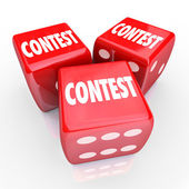 Contest Dice Word Roll Gamble Play to Win — Stock Photo