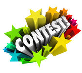 Contest Word Stars Fireworks Exciting Raffle Drawing News — Стоковое фото