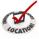 Location Check Mark Box Top Priority Best Place Area — Stock Photo