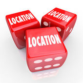 Location Words Three Dice Gamble — Stock Photo