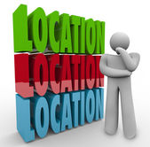 Location Words Thinking Person — Stock Photo