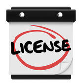 License Word Reminder Calendar Due Date Authorization Approval — Stock Photo