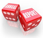 Annual Report Words Dice Gamble — Stock Photo