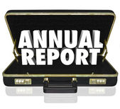 Annual Report Briefcase Words — Stock Photo