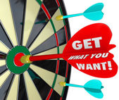 Get What You Want Words Dart Board — Stock Photo