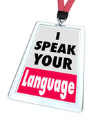 I Speak Your Language Name Badge — Stock Photo