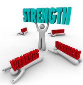 Strength Vs Weakness Person Lifting Word — Stock Photo