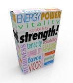 Strength Words Product Box Package — Stock Photo