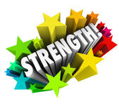 Strength Stars Word — Stock Photo