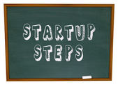 Startup Steps Words Chalk Board — Stock Photo