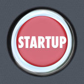 Start Up Round Red Car Ignition Button — Stock Photo