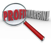 Profit Margins Magnifying Glass — Foto de Stock